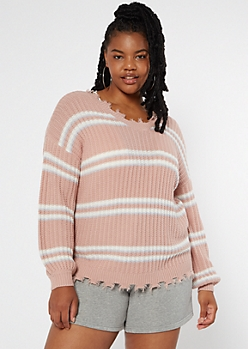 Plus Pink Striped Bubble Sleeve Frayed Sweater