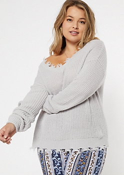 Plus Gray Frayed Hem Skimmer Sweater
