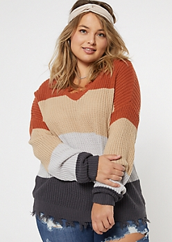 Plus Peach Colorblock Frayed Hem Skimmer Sweater
