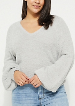 Plus Gray Eyelash Knit Sweater