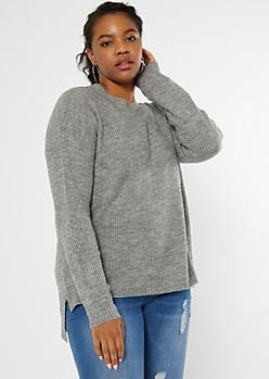 Plus Gray Eyelash Knit Sweater