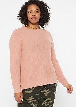 Plus Pink Eyelash Knit Sweater