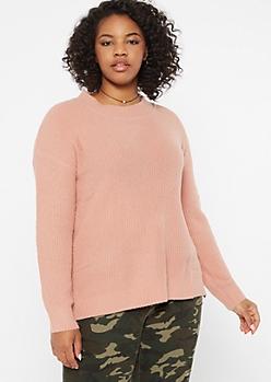 Plus Pink Eyelash Knit Sweater