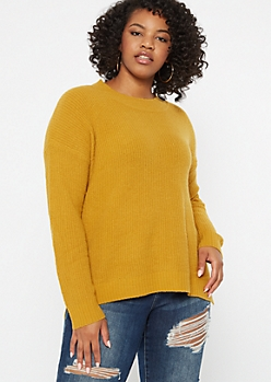 Plus Mustard Eyelash Knit Sweater