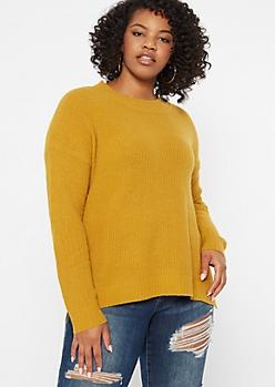Plus Mustard Eyelash Knit Sweater