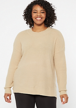 Plus Tan Eyelash Knit Sweater