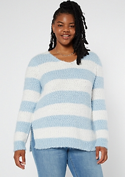 Plus Blue Striped Fuzzy Eyelash Knit Tunic Sweater