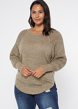 Plus Oatmeal Heathered Oversize Scoop Hem Sweater