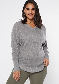 Plus Gray Heathered Oversize V Neck Scoop Hem Sweater
