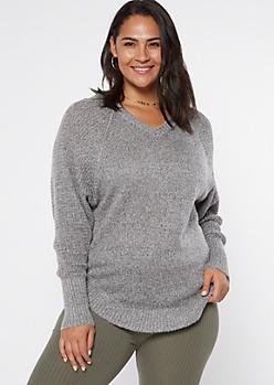 Plus Gray Heathered Oversize V Neck Scoop Hem Sweater