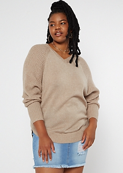 Plus Taupe Heathered Oversize V Neck Scoop Hem Sweater