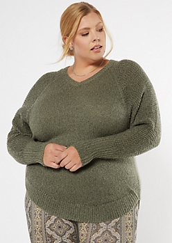 Plus Olive Heathered Oversize V Neck Scoop Hem Sweater