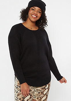 Plus Black Marled Dolman Sweater