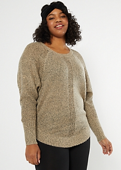 Plus Oatmeal Marled Dolman Sweater