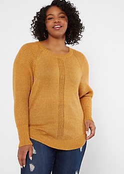Plus Mustard Marled Dolman Sweater
