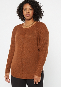 Plus Burnt Orange Marled Dolman Sweater
