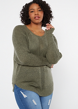 Plus Olive Marled Dolman Sweater