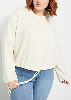 Plus Charcoal Crop Dolman Sweater