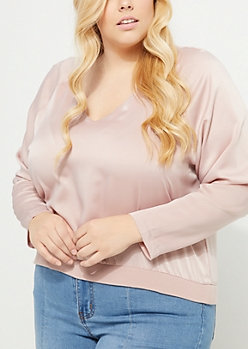Pink Sateen Crop Blouse