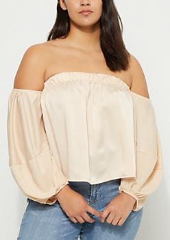 Plus Pink Sateen Off Shoulder Puffed Sleeve Top