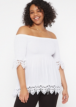 Plus White Smocked Crochet Top