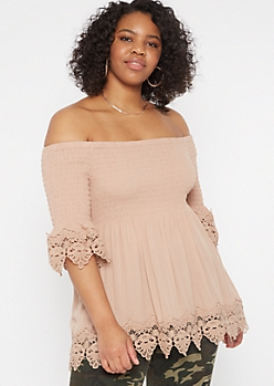 Plus Taupe Smocked Crochet Top