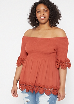 Plus Burnt Orange Smock Crochet Top
