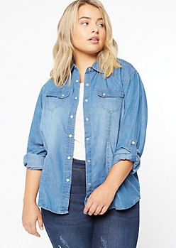 Plus Light Wash Roll Tab Chambray Shirt