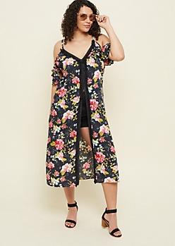 Plus Black Floral Print Fringed Long Length Kimono