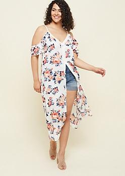 Plus Navy Floral Print Fringed Long Length Kimono