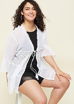 Plus White Ruffled Tie Front Lightweight Kimono