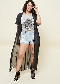 Plus Black Short Sleeve Maxi Kimono