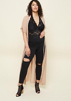 Plus Sand Short Sleeve Maxi Kimono