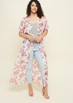 Plus Pink Floral Print Maxi Kimono