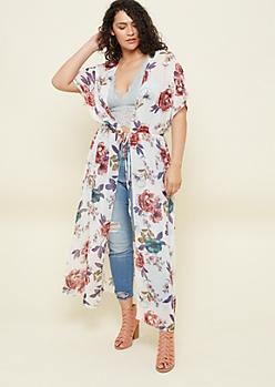 Plus Ivory Floral Print Maxi Kimono