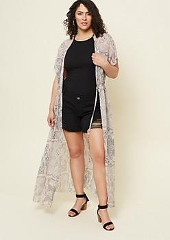 Plus Pink Paisley Print Maxi Kimono