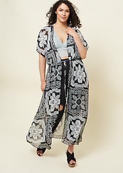 Plus Black Paisley Print Maxi Kimono