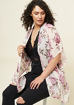 Plus Pink Rose Print High Low Kimono