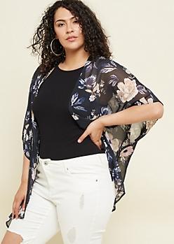 Plus Black Floral Print High Low Kimono