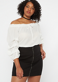 Plus Ivory Off The Shoulder Ruched Sleeve Top