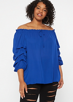 Plus Royal Blue Off The Shoulder Ruched Sleeve Top