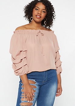 Plus Pink Off The Shoulder Ruched Sleeve Top