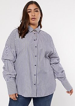 Plus Blue Striped Ruched Sleeve Button Down Shirt