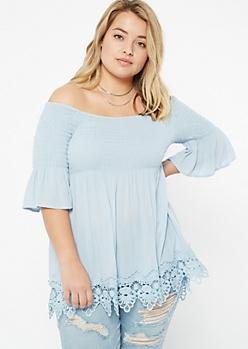 Plus Blue Off The Shoulder Crochet Trim Blouse