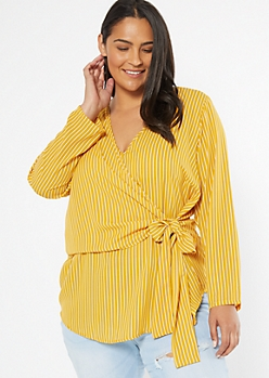 Plus Yellow Striped Wrap Front High Low Blouse