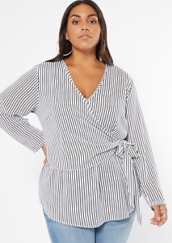Plus White Striped Wrap Front High Low Blouse