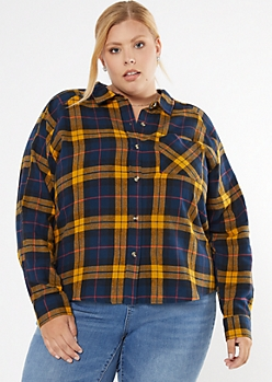 Plus Navy Plaid Boyfriend Flannel Shirt