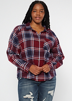 Plus Burgundy Plaid Boyfriend Flannel Shirt