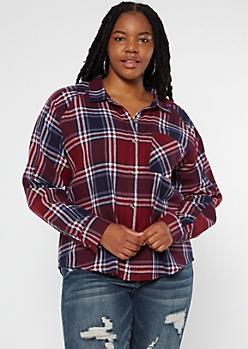 Plus Burgundy Plaid Boyfriend Flannel Shirt