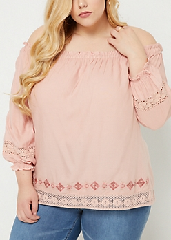 Plus Pink Off Shoulder Crocheted Trim Top